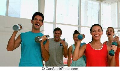 fototoestel, stand, het glimlachen, fitness, wi
