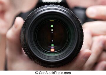 fototoestel, vasthouden, mannen