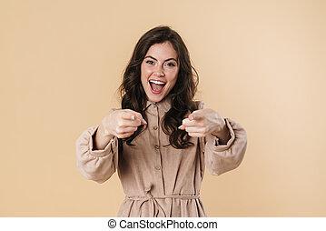 fototoestel, vingers, verrukt, glimlachende vrouw, beeld, schattig, wijzende