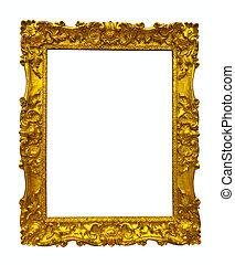 frame, goud, afbeelding