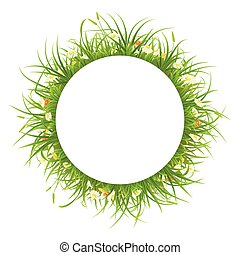 frame, gras, bloemen, ronde