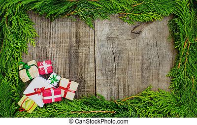 frame, kerstmis, concept