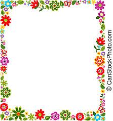 frame, model, grens, floral
