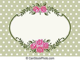 frame, ouderwetse , groene, rozen