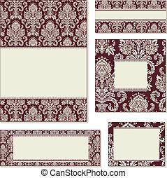 frame, vector, set, rood, sierlijk