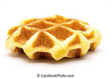fris, afsluiten, witte , isoleren, op, waffles, achtergrond.