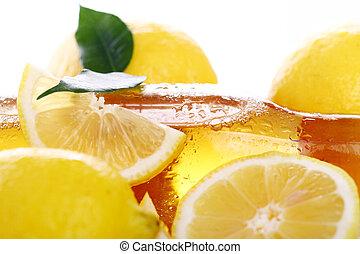fris, bier, koude, fles, citroenen