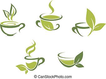fris, bladeren, groen thee