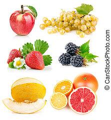 fris, bladeren, set, groene, vruchten