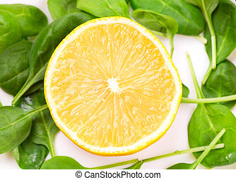 fris, close-up, citroen, beeld, schijfen