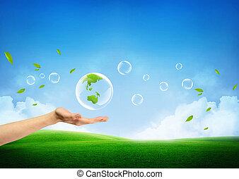 fris, concept, groene aarde, nieuw