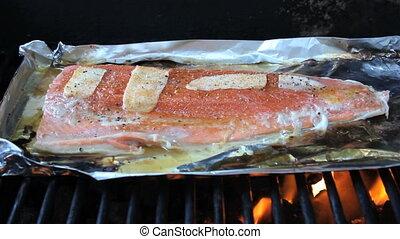 fris, het koken, salmon, bbq