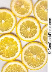 fris, schijfen, dichtbegroeid boven, gele, citroen