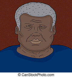 frowning, black , mondige man