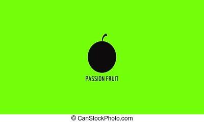 fruit, animatie, hartstocht, pictogram