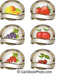 fruit, etiketten, prik, verzameling