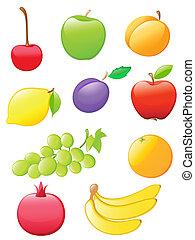 fruit, glanzend, iconen