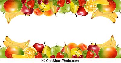 fruit., heerlijk, randjes, rijp, twee, vector., gemaakt