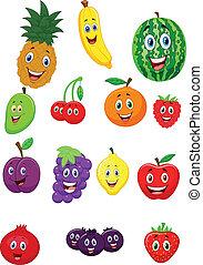 fruit, karakter, spotprent