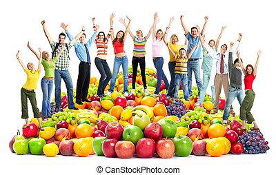 fruits., mensen, vrolijke , groep