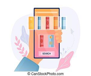 functie, ebook, het tonen, bibliotheek, zoeken, app