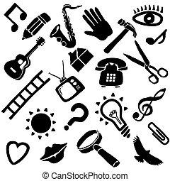 funky, vector, voorwerpen