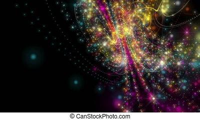 futuristisch, deeltje, lus, video, animatie, motie, vertragen, voorwerp, shimmer, hd, licht, streep