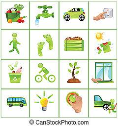 gaan, concept, groene, iconen