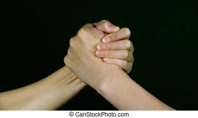 game., hand, worstelen, twee mensen