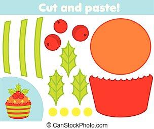 game., maken, cupcake, papier, knippen, nieuw, onderwijs, kerstmis, lijm, schaar, kinderen, creatief, jaar, activity.