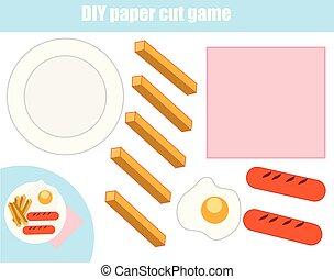 game., schaaltje, maken, holle weg, snijden document, voedingsmiddelen, deeg, worksheet., onderwijs, doe het zelf, glue., kinderen, activity.