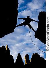 gap., door, reiken, klimmer, rots