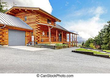 garage., cabine, logboek, groot, portiek