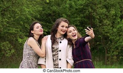 garden., boeiend, meiden, groene, mooi, langzaam, selfie