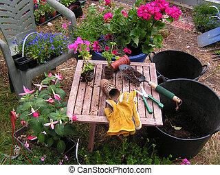 gardener's, potting, tafel