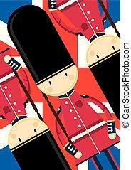 gardetroepen, queen?s, spotprent, brits