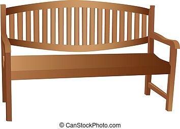 geïllustreerd, houten bank