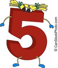 geanimeerd, 5, gekke , 3d, rood, getal