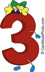 geanimeerd, gekke , 3, 3d, rood, getal