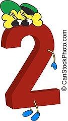 geanimeerd, gekke , 3d, rood, 2, getal