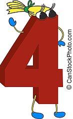 geanimeerd, gekke , 3d, rood, 4, getal
