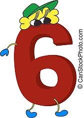 geanimeerd, gekke , 3d, rood, 6, getal