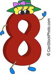 geanimeerd, gekke , 3d, rood, 8, getal