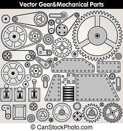 gears., mechanisch, vector, onderdelen, uitrusting