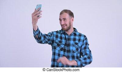 gebaard, boeiend, hipster, vrolijke , selfie, man