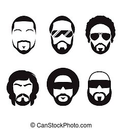 gebaard, faces., mannen, hipster, set