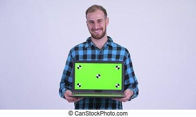gebaard, het tonen, hipster, vrolijke , draagbare computer, man