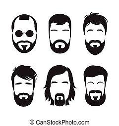 gebaard, set, hipster, faces., mannen