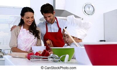 gebakje, vervaardiging, samen, gezin