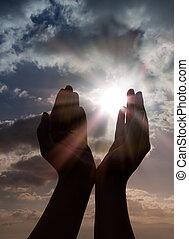 gebed, handen, zon
